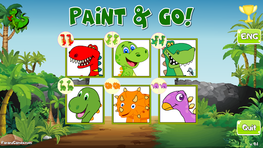 Paint and Go - Coloring of Dinosaurs with Cartoons android2mod screenshots 1