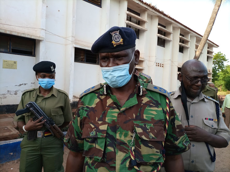 Taita Taveta County Commander Patrick Okeri addressing press at the Voi police