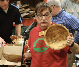 Photo: Tim Aley did a pair of bowls: this one in spalted maple...