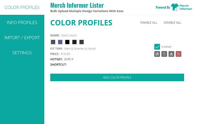 Merch Informer Lister