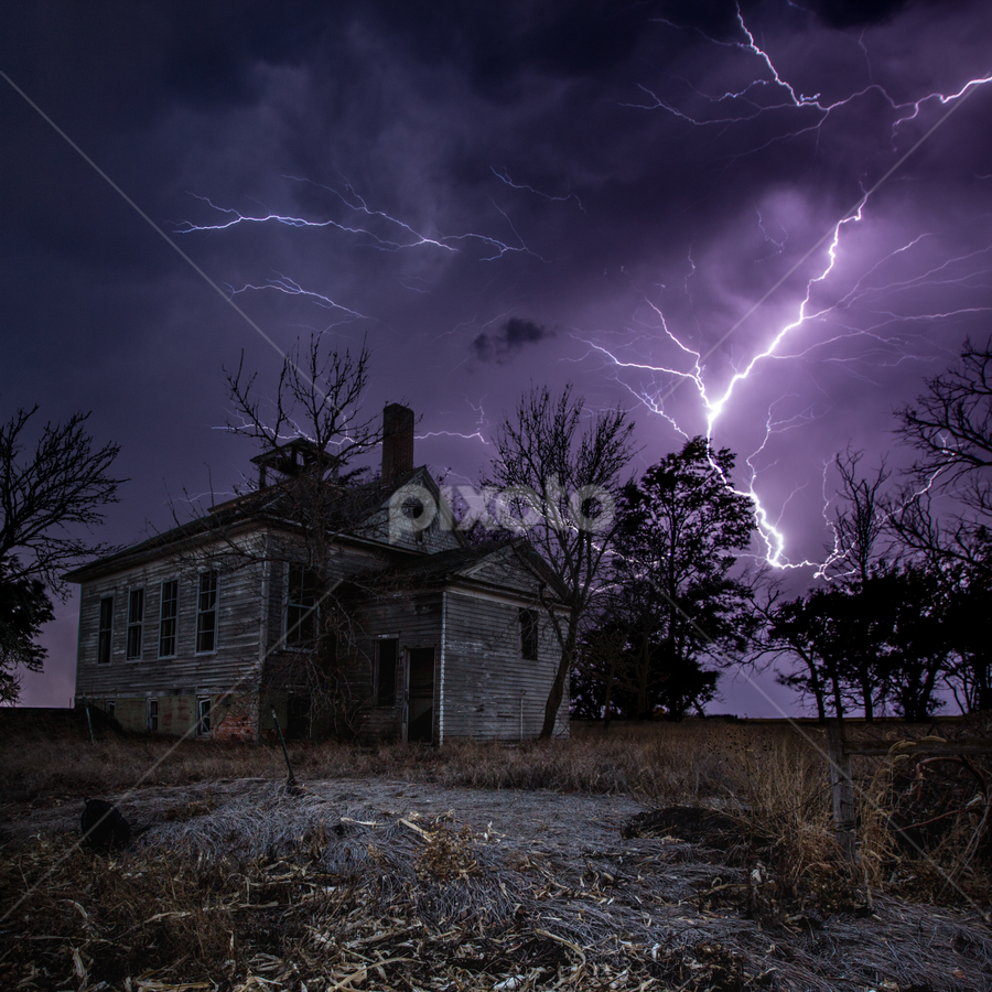 Dark Stormy Place by Aaron Groen - Buildings & Architecture Other Exteriors ( scary, a dark place, bad, dangerous, close, lightning, sky, dark, weather, night, dark place, horror, abandoned, a series of dark places )