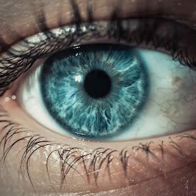 Blue eye by Doru Iachim - People Body Parts ( love, body parts, blue, white, eye )
