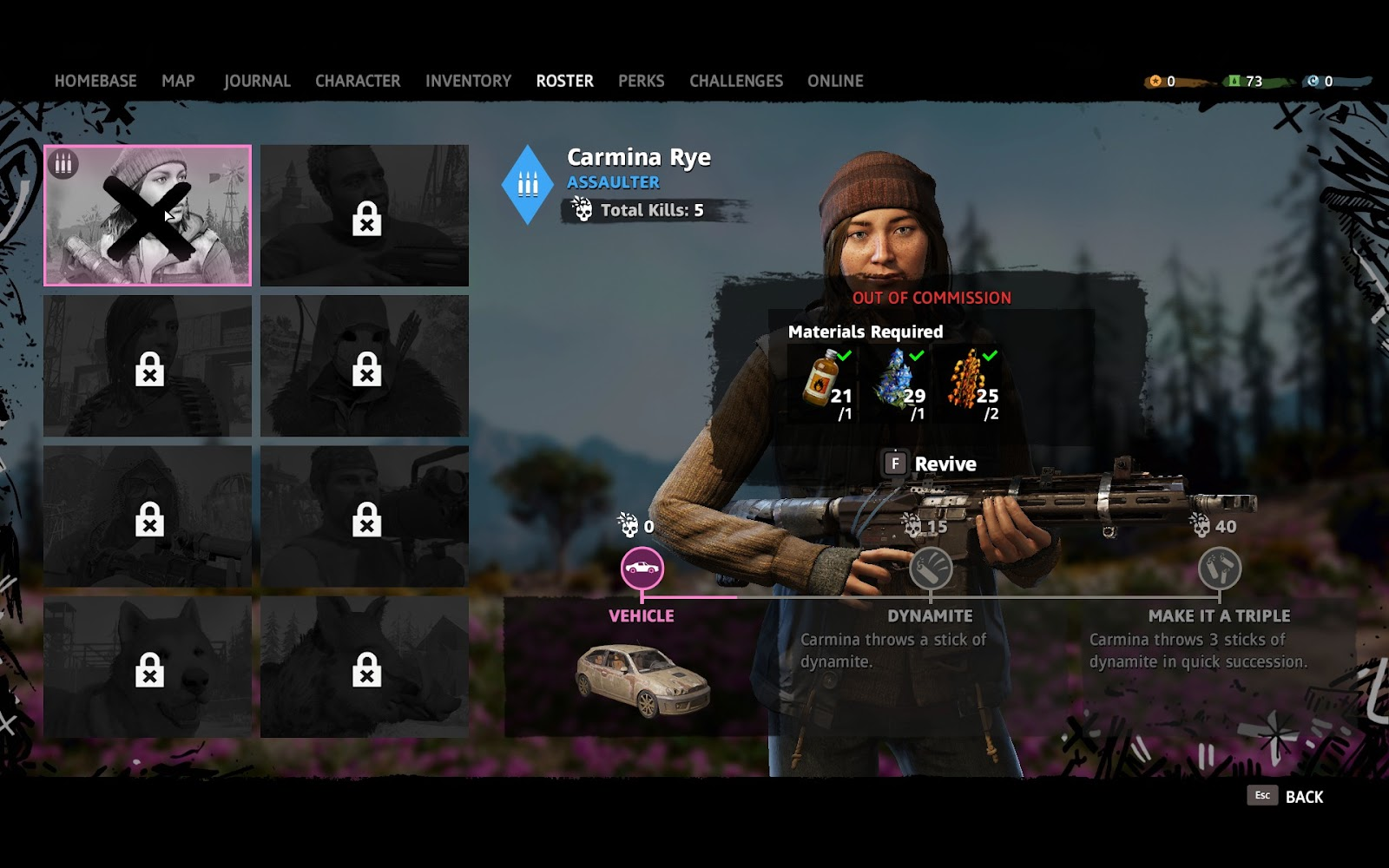 Roster menu where you can revive your companion