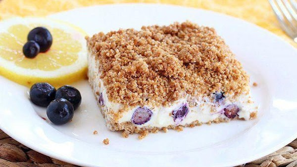 Lemon Blueberry Frozen Crunch Cake Recipe