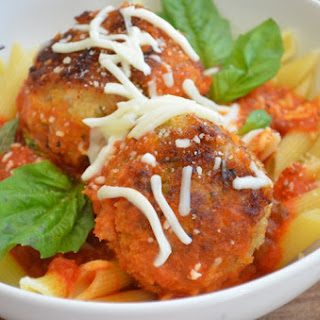Pasta with Chicken Parmesan Meatballs.