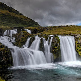 Kirkjufellsfoss 3 by Jen St. Louis - Landscapes Travel ( snaefellsnes, waterfall, iceland, kirkjufellsfoss,  )