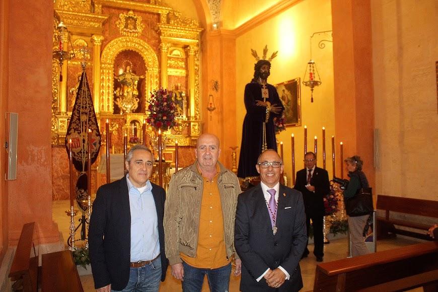 Blas Marín, Andrés Felices y Enrique Marín, refundadores de la Hermandad del Prendimiento.