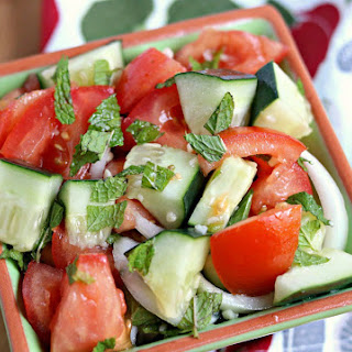 Lebanese Salad with Tomatoes and Cucumbers.