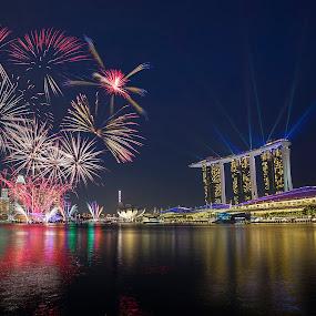Singapore Celebration by Martin Yon - Abstract Fire & Fireworks ( sands, bay, mbs, fireworks, celebration, marina, party, singapore, nightscape )