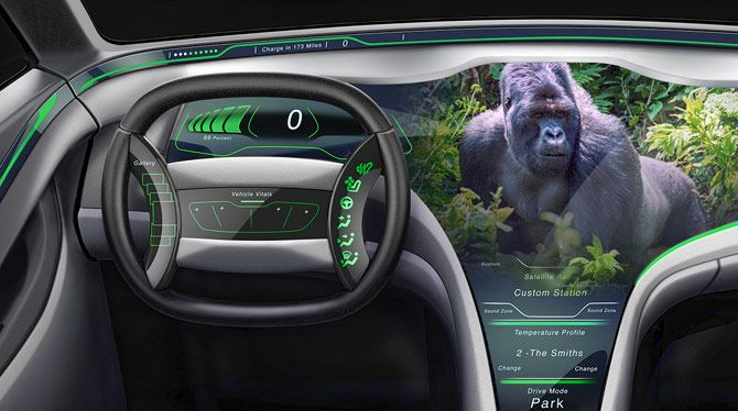 Gorilla Glass touchscreen display and dashboard controls