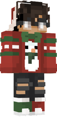 Cute boy with Christmas sweater and glasses