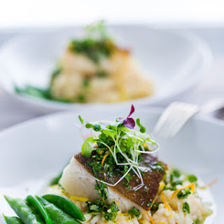 Seared Black Cod with Meyer Lemon Risotto and Gremolata.