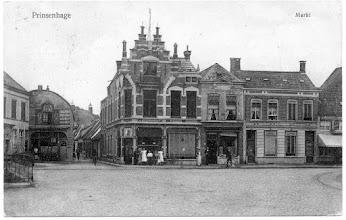 Photo: 1914 Prinsenhage Markt en Kerkstraatje.