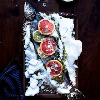 Salt-Baked Salmon with Citrus and Herbs.