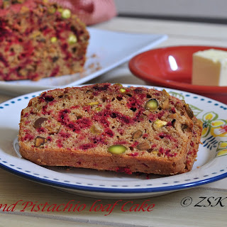 Beet and Pistachio Loaf Cake