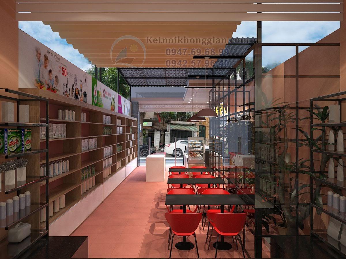 thiết kế cửa hàng tạp hóa, thiết kế siêu thị mini