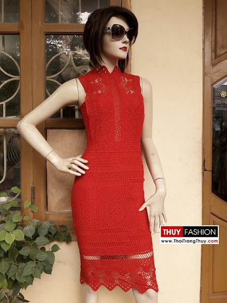 Váy ren đối xứng dáng bút chì V289 thời trang thuỷ