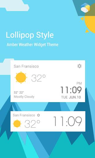 材質設計扁平風格時鐘天氣小工具﹣琥珀天氣,最贊的天氣小工具!