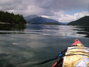 Photo: Leaving Big Bay with Jimmy Judd Island on the left and Dent Island off the left bow. The BC mainland is on the right.