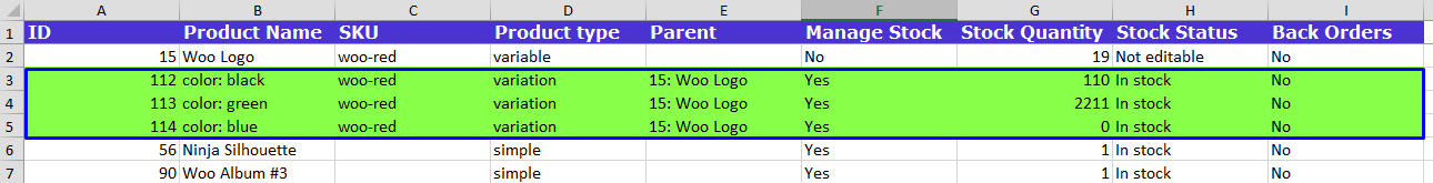 Variations in excel file