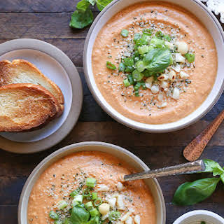 Creamy Vegan Tomato Basil Soup.