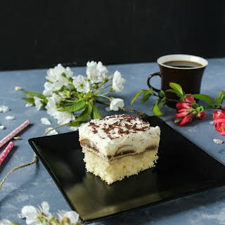 Pound Cake With Pudding, Coffee And Whipped Cream.