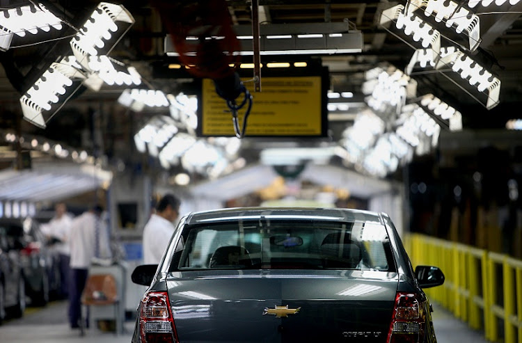 A General Motors Co Cobalt vehicle moves along the assembly line at the company's Sao Caetano do Sul manufacturing facility in Sao Caetano, Brazil, in this October 24 2012 file photo. Picture: BLOOMBERG/DADO GALDIERI
