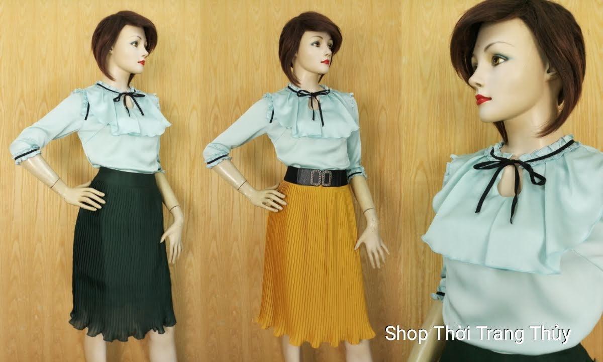 Áo sơ mi nữ bánh bèo xếp nhún vải lụa xanh ngọc V651 Thời Trang Thủy