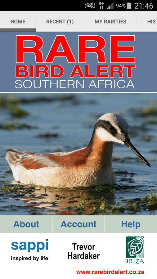 Rare Bird Alert SouthernAfrica- screenshot