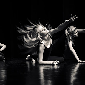 Reach for Me by Mladen Bozickovic - People Musicians & Entertainers ( girls, reflection, blonde, black & white, action, portraits, ballet, people, dance, stage, hair )