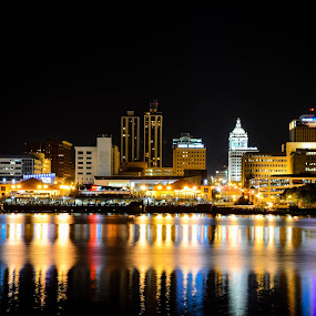 Peoria Illinois by Darrin Ralph - City,  Street & Park  Night ( hdr, colorful, reflections, cityscape, nightscape,  )