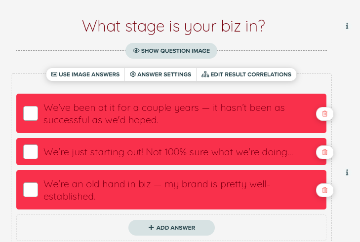 what stage is your business in question