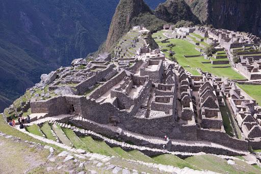 Detail of the ruins at Machu Picchu, Peru.
