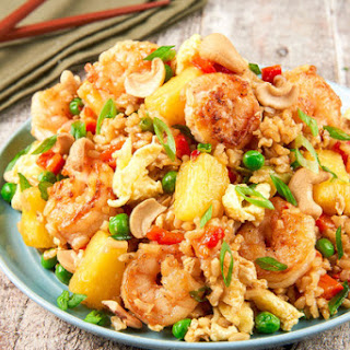 Shrimp and Pineapple Fried Rice With Toasted Cashews and Peas