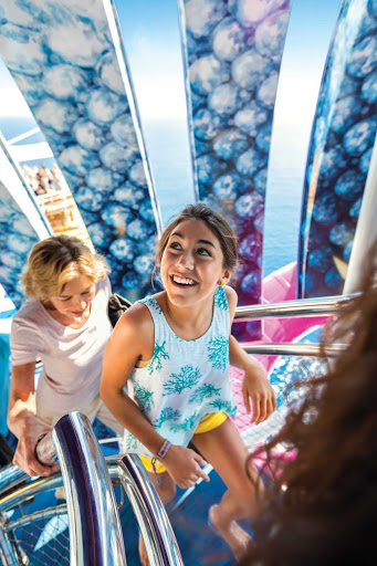 Kids and adults will get an adrenaline jolt from the Ultimate Abyss on Harmony of the Seas, the tallest waterslide at sea.