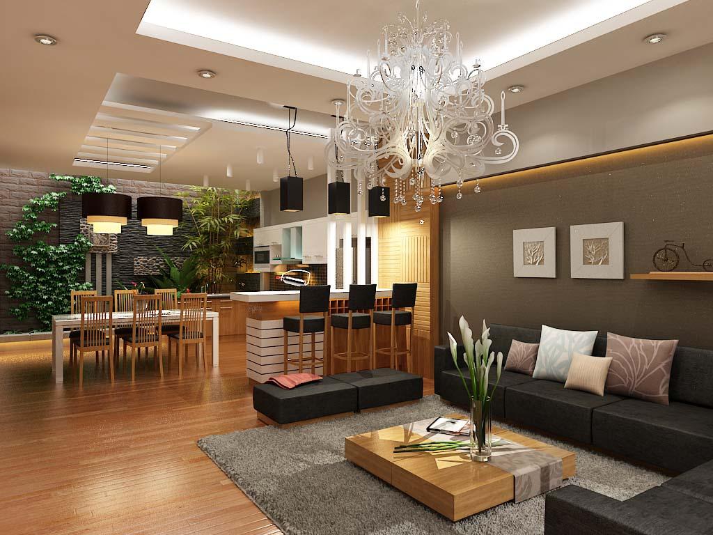 Ý tưởng lắp đặt hệ thống đèn cho phòng khách thông phòng ăn