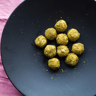 HONEY, GOAT CHEESE + PISTACHIO TRUFFLES