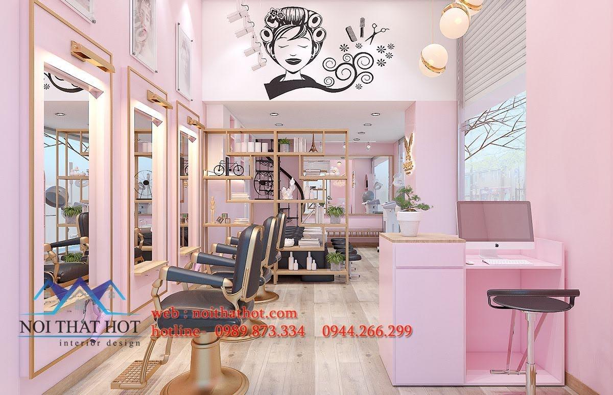 thiết kế salon gội đầu cắt tóc