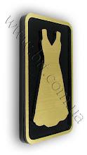 Photo: Табличка рельефная в туалет. Золотистый пластик, акрил черного цвета. Лазерная резка