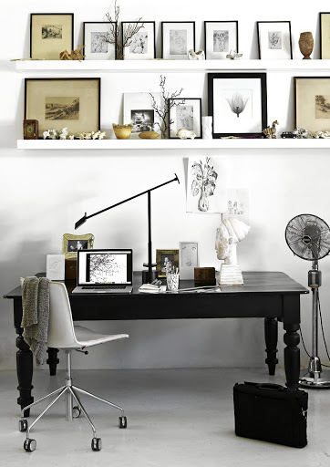 Shelley's workspace exposes her talent for making monochrome interesting and engaging.
