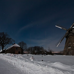 Night vision by Eriks Zilbalodis - Landscapes Weather ( clouds, snow, street, way, night, windmill, moonlight )