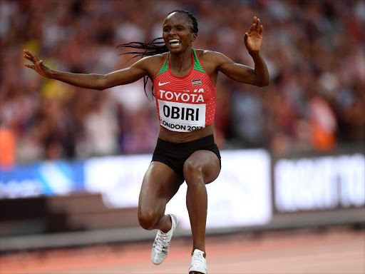 Hellen Obiri in celebration