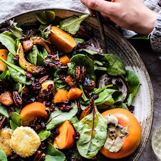 Cranberry Roasted Butternut Persimmon Salad with Fried Goat Cheese.