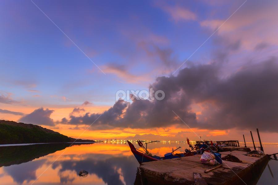 by Ah Chun - Landscapes Sunsets & Sunrises ( clouds, sky, mountain, sunset, sunrise, boat )