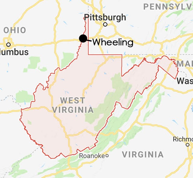West Virginia map, highlighting Wheeling