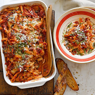 Baked Pasta with Tomato-Basil Sauce.