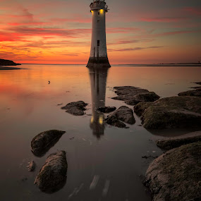 Perch Rock Sunset by Raymond Mcbride - Landscapes Sunsets & Sunrises ( new brighton, river mersey, sunset, lighthouse, perch rock )