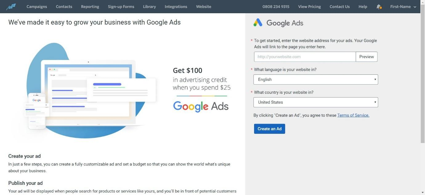 create Google ads on Constant Contact