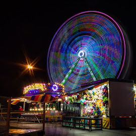 Ferris Wheel  by Teresa Solesbee - City,  Street & Park  Amusement Parks ( longexposure, night, fair, colorful )