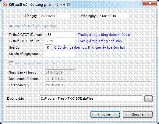 Export dữ liệu sang phần mềm HTKK